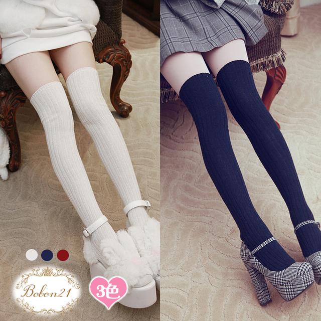 Princesa meias lolita Doce Bobon21 inverno listras verticais mostram fina de lã na altura do joelho-meias altas Coxa meias AC1314