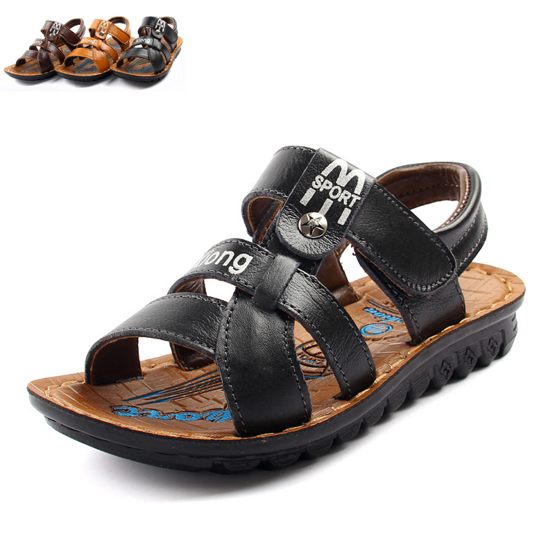 leather cowhide baby Beach baby sandals