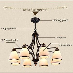 Image 3 - 3 lumières Bronze frotté à lhuile, Style européen Vintage, 6 lumières, 8 lumières, luminaire dintérieur, verre, luminaire dintérieur