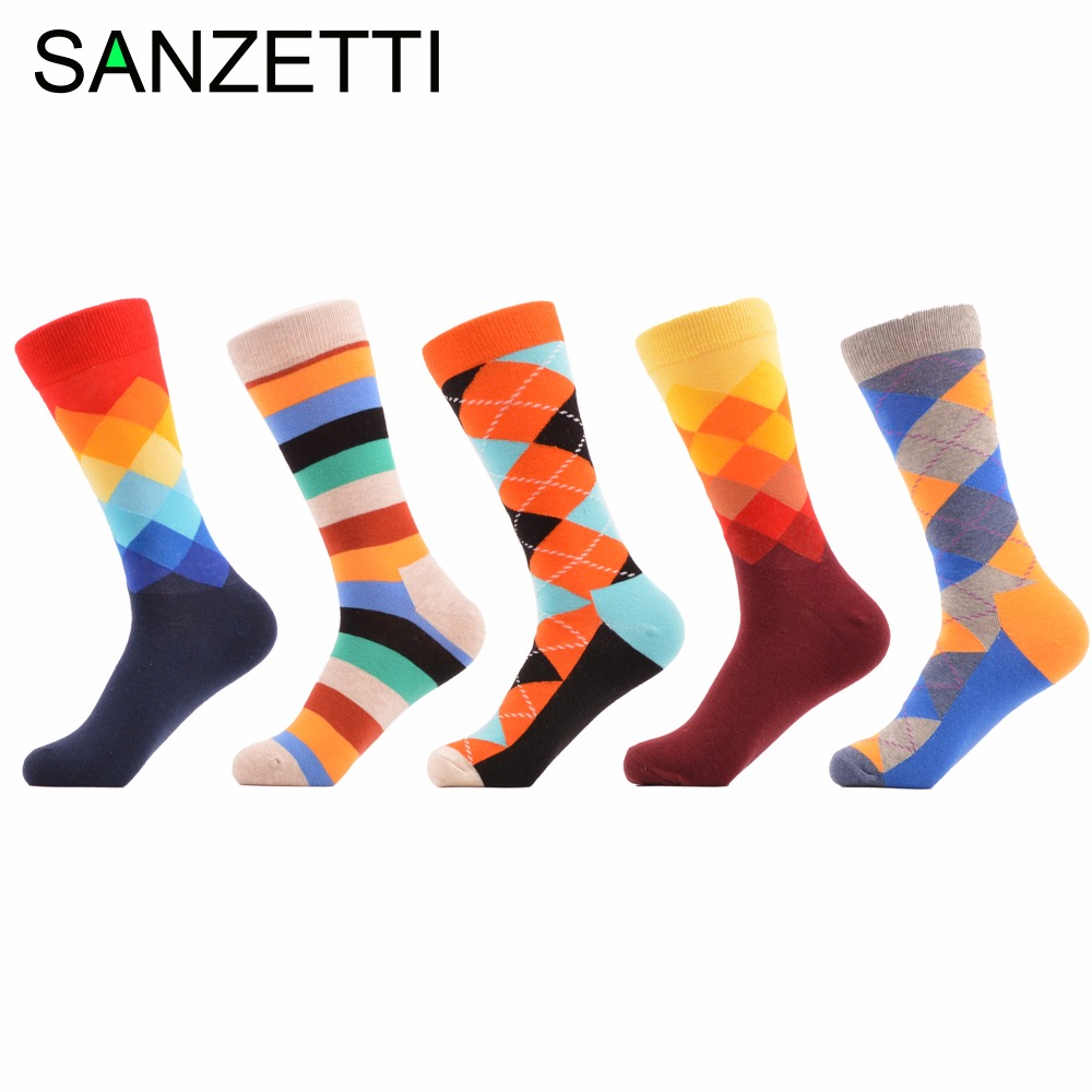 SANZETTI 5 pair/lot Men Socks Argyle Casual Combed Cotton Socks Colorful Casual Crew Socks Happy Socks For Christmas Gift