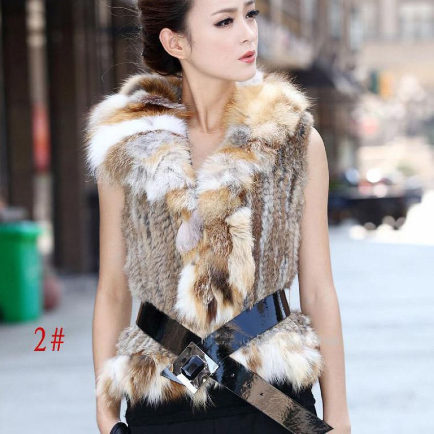 Online Shop genuine women knitting rabbit fur vest with fox fur ...