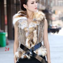 genuine women knitting rabbit fur vest with fox fur collar hot girl lady real fur coat waistcoat women's fur clothing CW2048