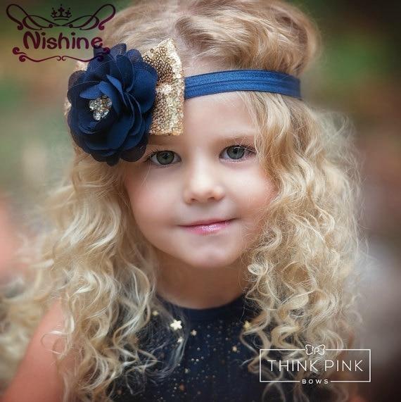 Nishine 1PCS New Navy Chiffon Flower With Gold Sequin Bow Girls Headband Elastic Party Kids   Headwear   Photography Props