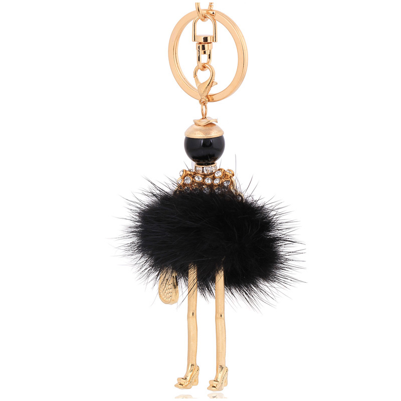 fashion black bunny fluffy fur keychain rabbit key chain ring holder <font><b>pom</b></font> <font><b>pom</b></font> car pendant woman handbag bag <font><b>keyrings</b></font> jewelry image