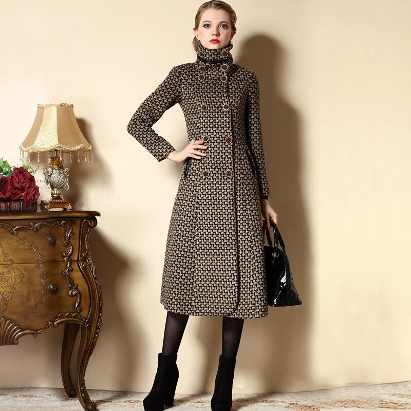 a745190f6c3 2018 Women plaid cashmere wool coat stand collar vintage winter long coats  plus size XXXL