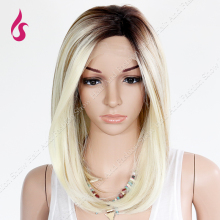 High Quality  Ombre Wig Black to Blonde Medium Long  Straight Synthetic Lace Front Wig Women Hair Party Wigs Free Shipping