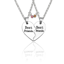 2 Pieces / Set Of Best Friend Necklace Fashion Lady Crystal Heart Puzzle Heart-Shaped BFF Friendship Jewelry Gift