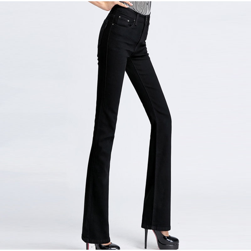 e71f853281d Spring Slim Fit Plus Size Flare Jeans Mid Waist Stretch Skinny Jean Vintage  Bell Bottom Pants Denim Trousers XXL 4XL 5XL XS 6XL-in Jeans from Women s  ...