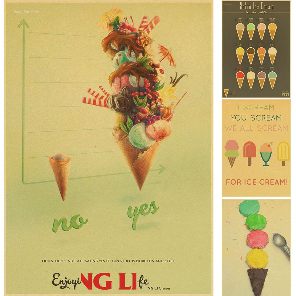 ⑤Restaurant Ice cream retro posterVintage wall art painting House ...