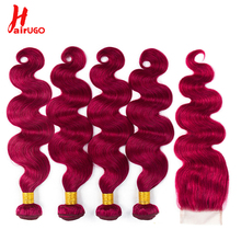 HairUGo Brazilian Body Wave Hair Pre -colored Human Hair 3/4 Bundles With Lace Closure Non Remy BUG Color 10-24 Inch Hair Weaves