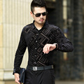 New Design Male Autumn Fashion Velvet Shirt Sexy Mens Casual Long Sleeve Velvet Dress Shirts
