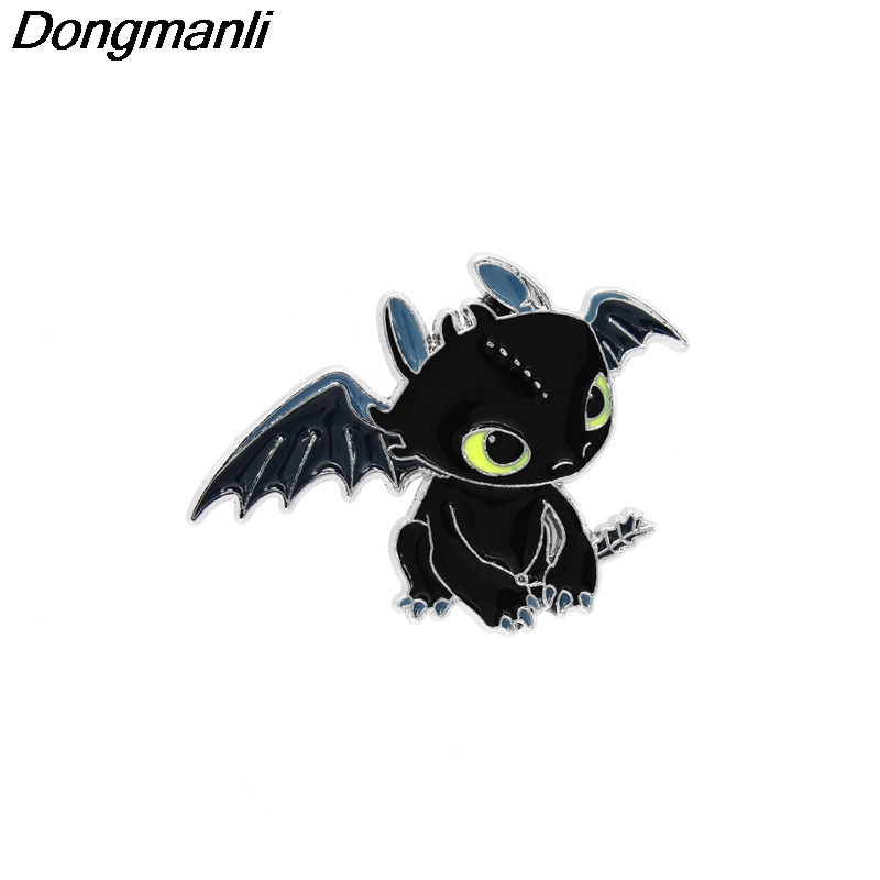 P2907 Dongmanli wholesale 20pcs/lot  How to Train Your Dragon Night Fury Metal Enamel Pins and Brooches for Women Men Lapel pin