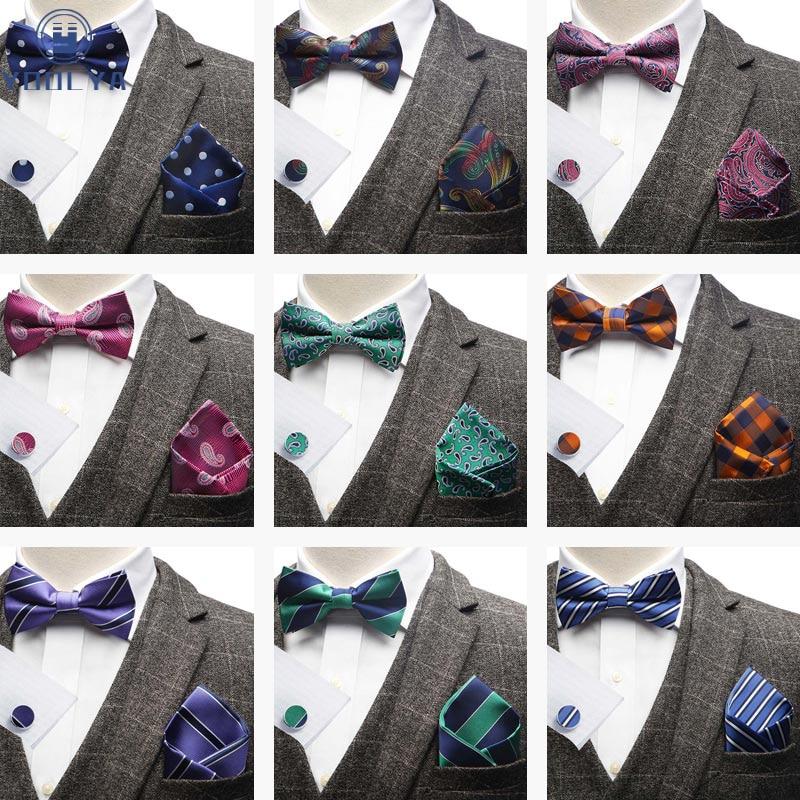 В полоску, в горошек турецкие огурцы, жаккардовый Для мужчин бабочка галстук-бабочка Карманный платок носовой платок запонки костюм набор а...