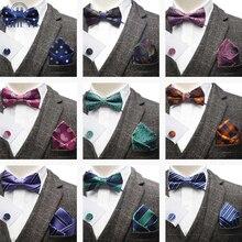 Stripes Dot Paisley Jacquard Woven Men Butterfly Bow Tie Bowtie Pocket Square Handkerchief Hanky Cufflinks Suit Set Accessory