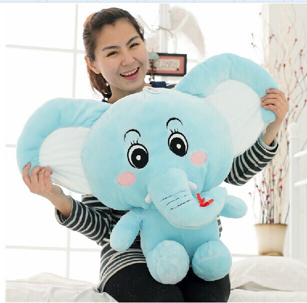 big new plush blue elephant toy Stuffed cartoon elephant gift doll about 60cm 0215 stuffed animal 44 cm plush standing cow toy simulation dairy cattle doll great gift w501