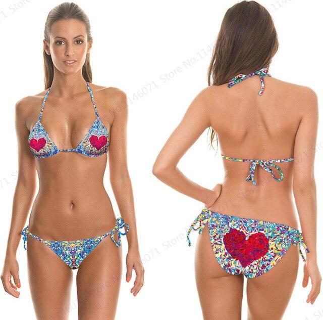 f1bc9d7b5d6da Red Love Bikinis Sweet Heart Colorful Diamond Swimsuits Push Up Bandage Bathing  Suits Biquini Women Halter Bikinis Set Swimwear