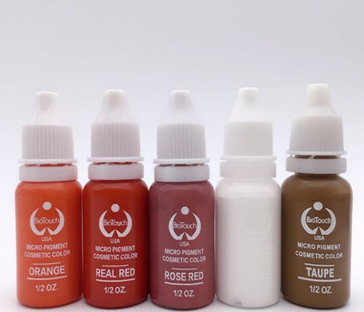 5 color permanente cosmética tatuaje tinta pigmento 15 ml/botella para la ceja cosmética set para Cuerpo