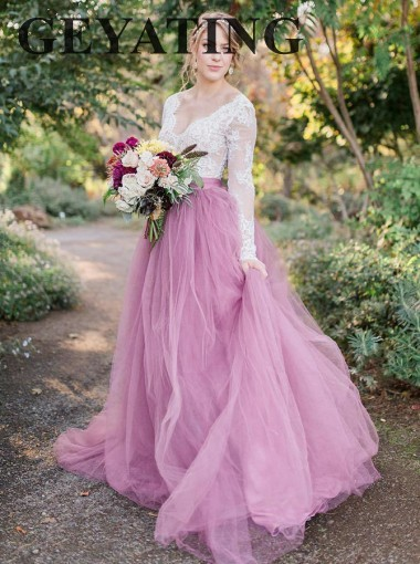White Lace Long Sleeves Pink Tulle Country Wedding Dress 2019 A-Line V-Neck Boho Bridal Gowns Custom Colorful Wedding Dresses