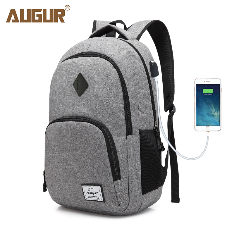 цена AUGUR New Men women Backpacks USB Charging Male Casual Back bag Travel Teenager Student back to School Notebook Laptop Back pack