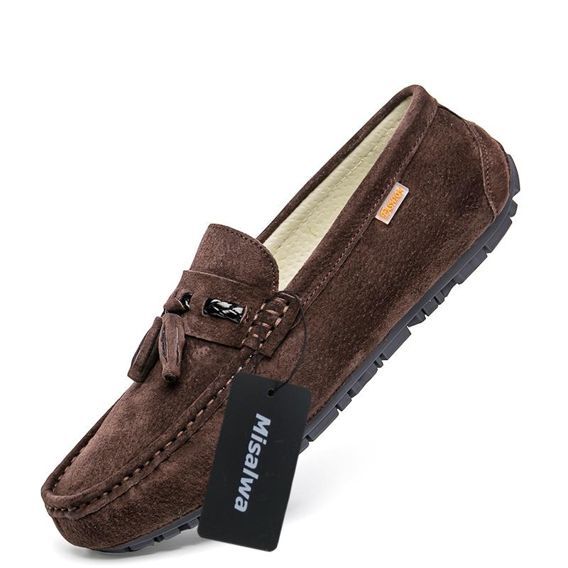 Misalwa brown Sapatos Casuais Borlas Moda Homens Zapatos gray Mocassins Apartamentos Black Da khaki Hombre Camurça rBRTwr7q