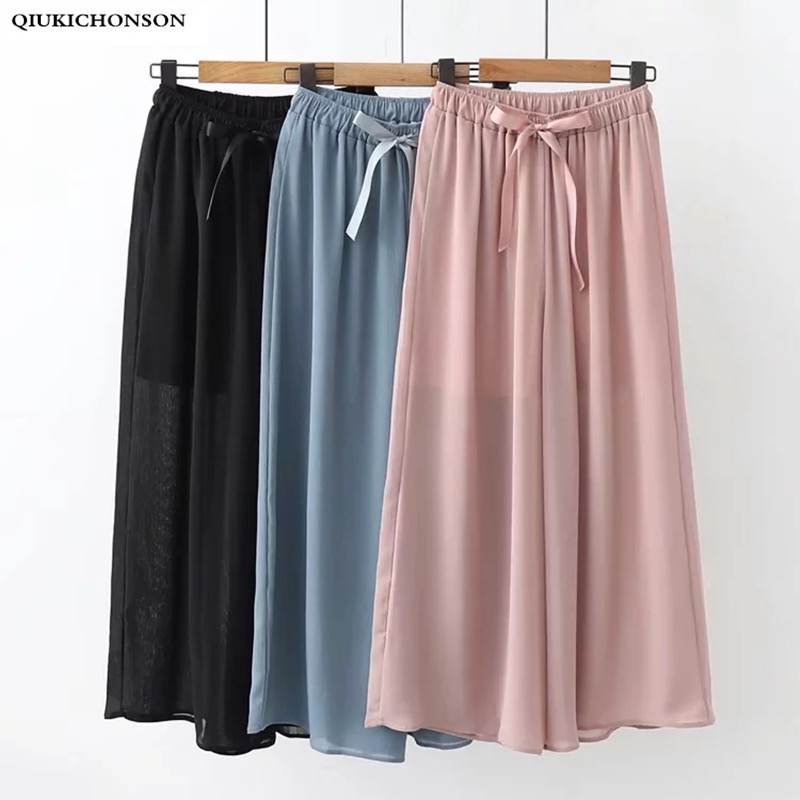 Casual Loose Pants Women Spring Summer Bow Decoration Elastic Band High Waist Wide Leg Pants Ladies Chiffon Trousers Palazzo