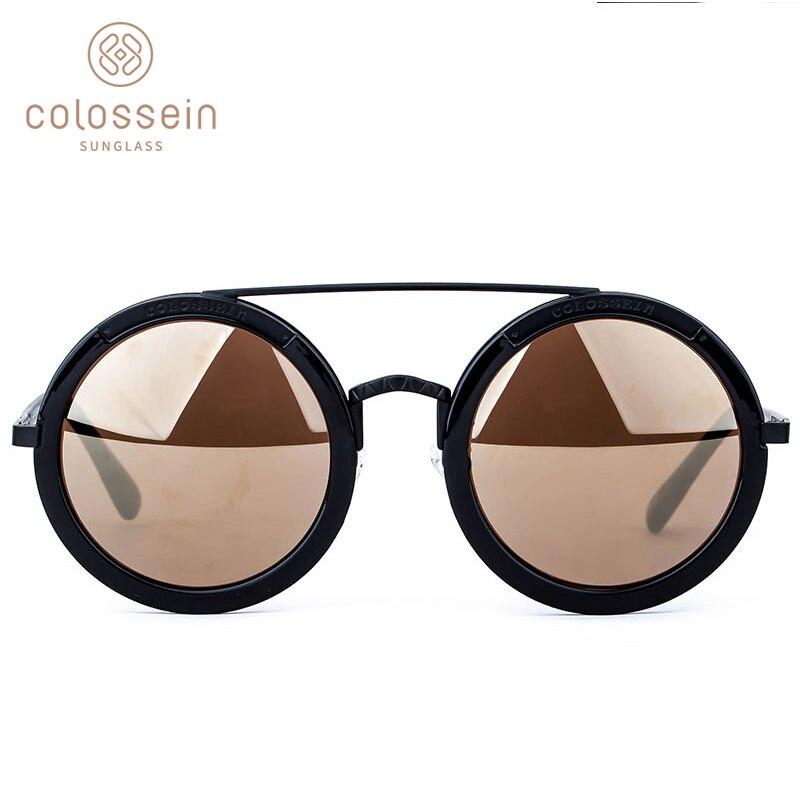 COLOSEIN Sunglasses Women Retro Round Glasses Fashion Mirrored Googles Steampunk Style Eyewear gafas de sol mujer