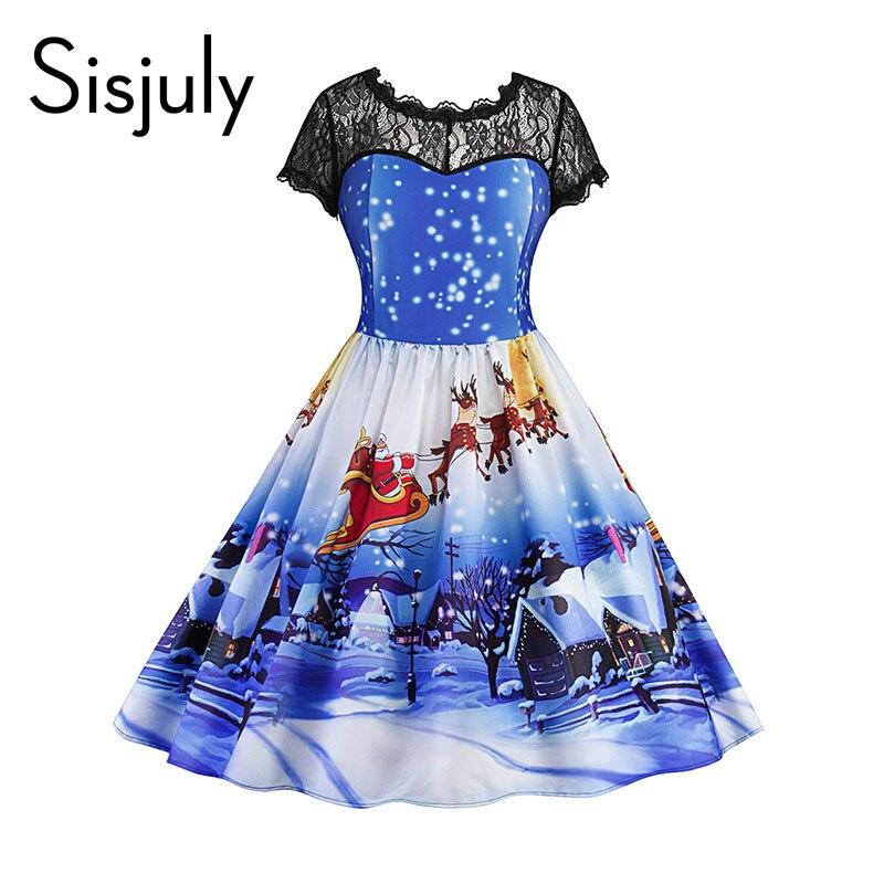 Sisjuly 1950s vintage dresses women christmas cartoon lace patchwork print flower backless a line o neck party vintage dresses