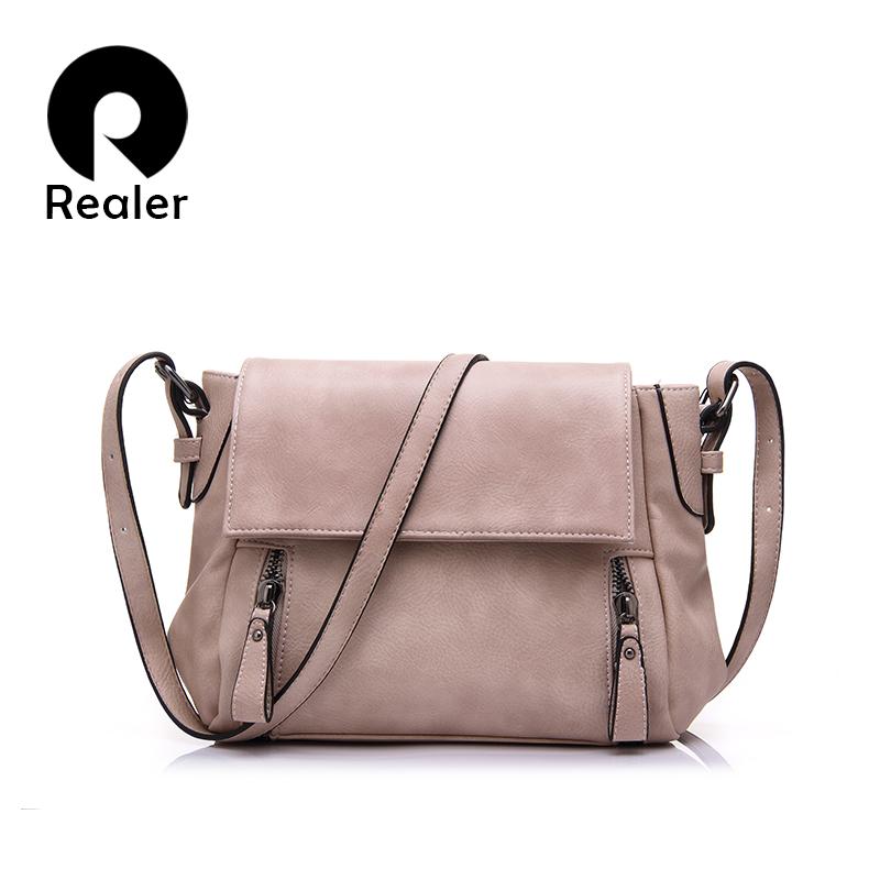 Prix pour REALER marque femmes messenger sacs dames solide sac à main avec fermeture éclair décoration, artificielle en cuir d'épaule sacs 2 bretelles