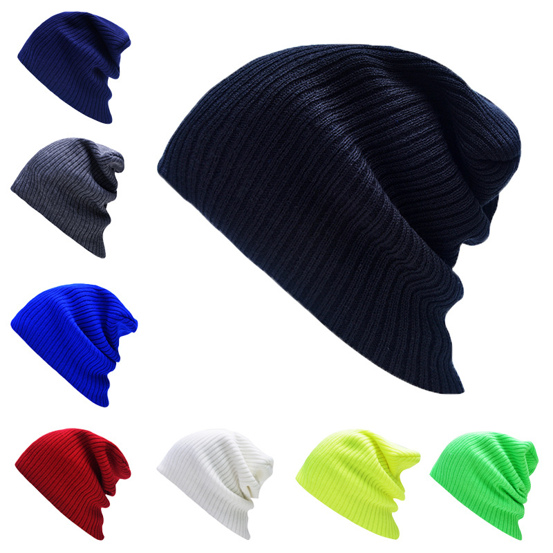 8 Colors 2016 Fashion Solid Striped Knitted Wool Skullies Hip Pop Men Women Warm Outdoor Beanies Autumn Winter Cap skullies