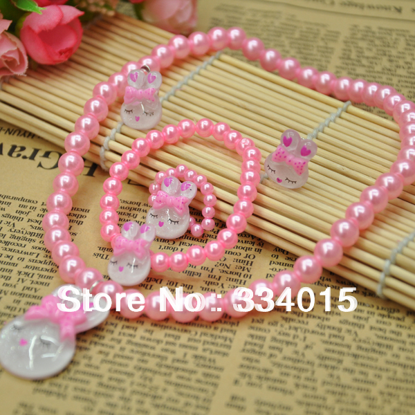 Cute Pink dolls hello kitty Children Kids jewellery sets (4 items) for girls Christmas birthday gifts jewelry  XL026