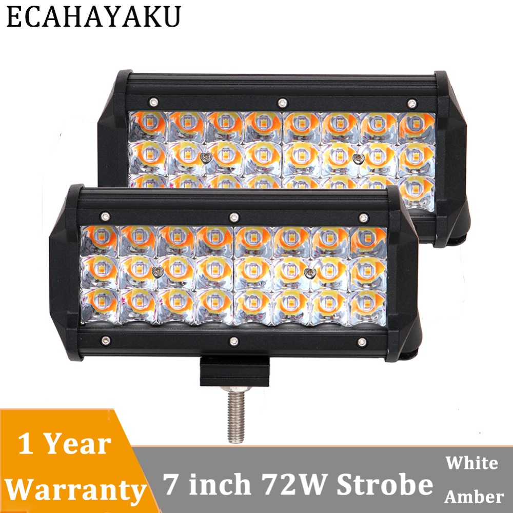 ECAHAYAKU 2x 72w 7 inch Amber White light LED Work Light Bar 12V 24V for Offroad motorcycle Truck ATV SUV 4x4 4WD Boat fog lamp in Light Bar Work Light from Automobiles Motorcycles