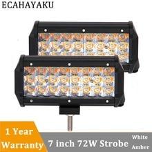 ECAHAYAKU 2x 72w 7 inch Amber White light LED Work Light Bar 12V 24V for Offroad motorcycle Truck ATV SUV 4x4 4WD Boat fog lamp