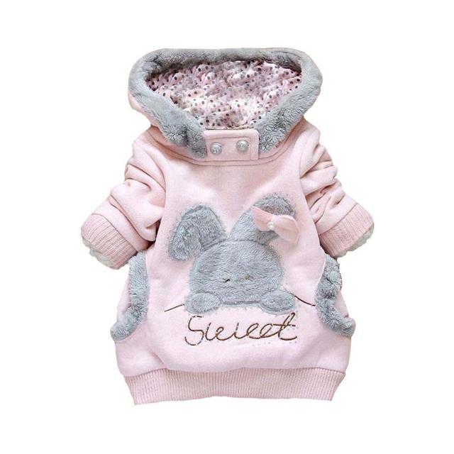 2016 Crianças de Varejo de Roupas Desenhos Animados do Coelho Fleece Outerwear moda roupas de menina/jaqueta com capuz/Casaco de Inverno de roupa infantil