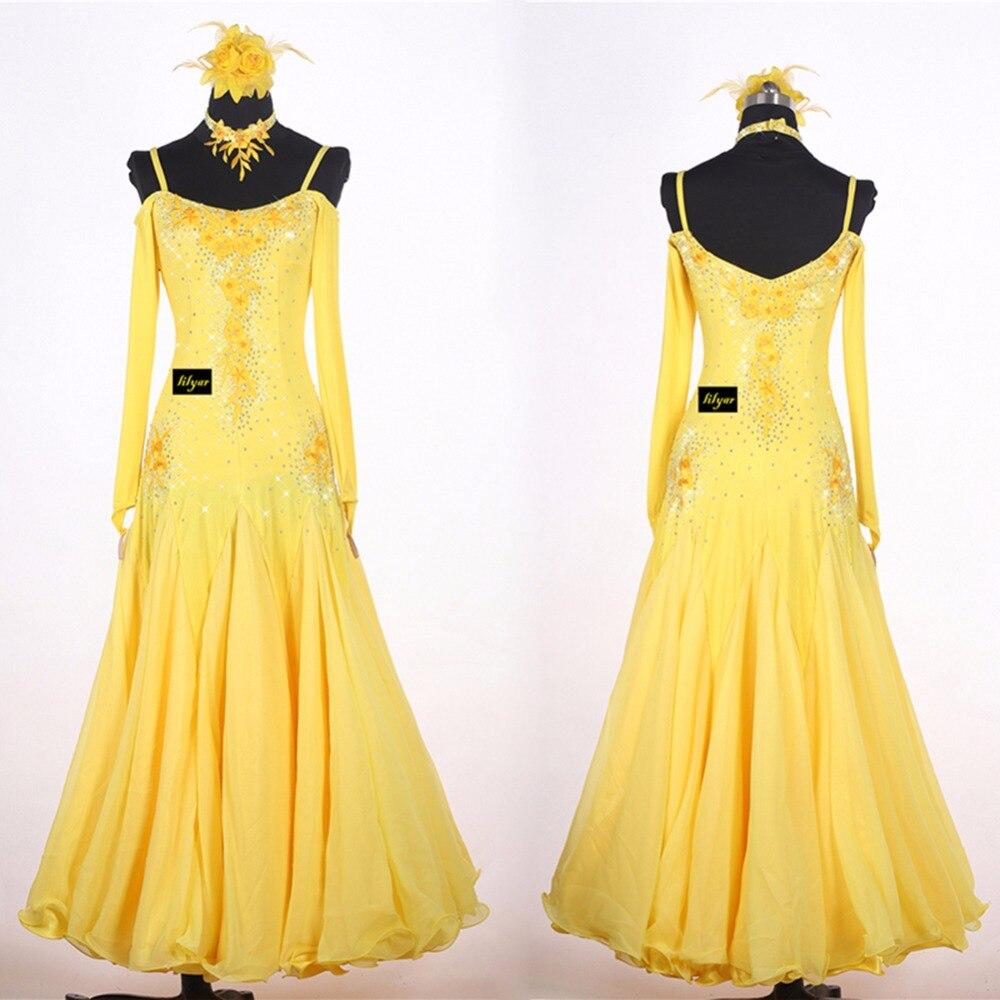 Hot Selling Modern Dancing Dresses For Ladies Rhinestone Yellow Skirts For Women Adult Tango Waltz Ballroom Dance Fashions 0032
