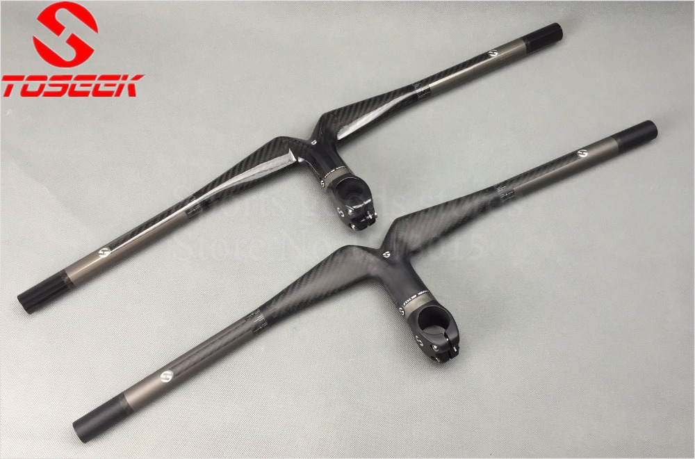 Toseek Full Carbon Fiber T800 28 6mm Handlebar Bent Bar Mountain Bicycle Integrated Matt Handlebar 3K