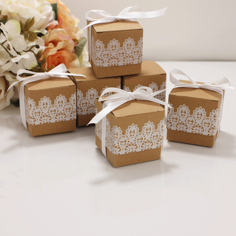 10pcs Lace Bow Candy Dragee Box Flower Kraft Paper With Ribbons Birthday Wedding Gift Box Mini Single Cake Dragee Box Packaging