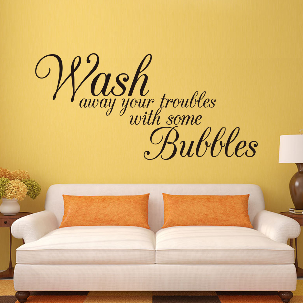 Bathroom wall stickers Wash Away Your Troubles waterproof removable ...