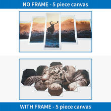 5 Pieces Ocean Palm Trees Sunshine Scenery  Modular HD Paintings on Canvas