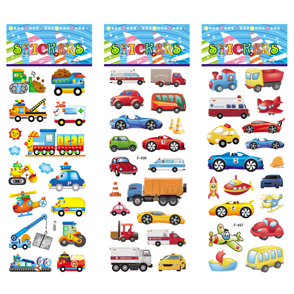 12 Different Sheets Crtoon Traffic Car Aircraft DIY Stickers Toys PVC Scrapbook for Children Diary Notebook Decoration Gifts