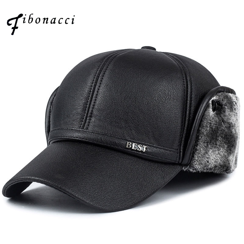 Fibonacci High quality men's winter hat warm ear protection plus velvet thick middle aged elderly leather baseball cap skullies new arrival warm winter female knitted hat hedging interior plus fluff lines thick line twist cap cute hat 1866934