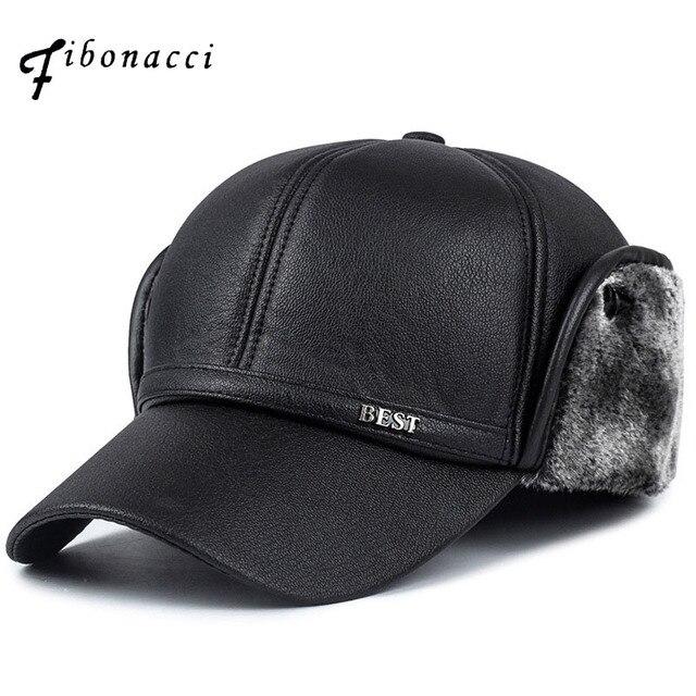ce9bf78fb87 Fibonacci High quality men s winter hat warm ear protection plus velvet  thick middle aged elderly leather