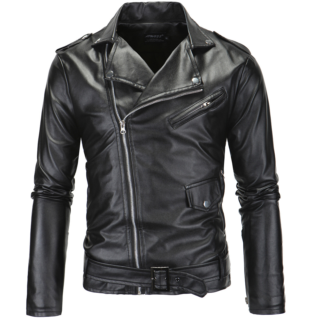 2018 New Mens Leather Jackets Men Turn-down Collar Black Coats Male Motorcycle Leather Jacket Men Casual Slim Brand Clothing