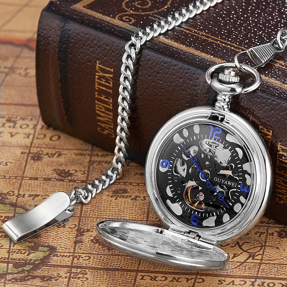 OUYAWEI Mode Zwarte Steampunk Skelet Fob Horloges voor Mannen Ketting - Zakhorloge - Foto 2