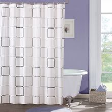 Plastic PEVA Waterproof Shower Curtain Bathroom Curtain Thickening Luxury Bath Curtain With 12pcs Hooks Variety Pattern