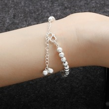 Round Beads Bangle bracelet simple adjustable Bracelets for women jewelry Wrap Cuff bangle Ancient silver accessories hot sell