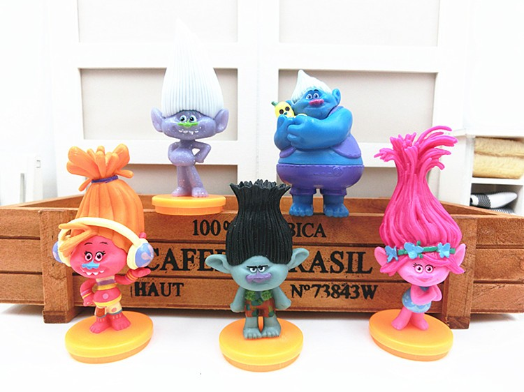 50sets (5pcs/lot) Movie Trolls PVC Action Figures Toys 7cm Poppy Branch Biggie Collection Dolls for Kid Figures Model Toys 8pcs lot 8 12cm trolls movie poppy branch statue pvc action figures collectibles dolls anime figurines kids toys for boys girls