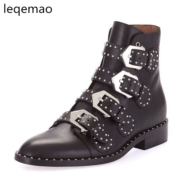 Hot Sale Women Genuine Leather Martin Boots Pointed Toe High Quality Metal Rivet Belt Buckle Woman New Fashion Ankle Shoes 35-42 enmayer new motorcycle boots for women sexy rivet shoes fashion martin boots genuine leather boots