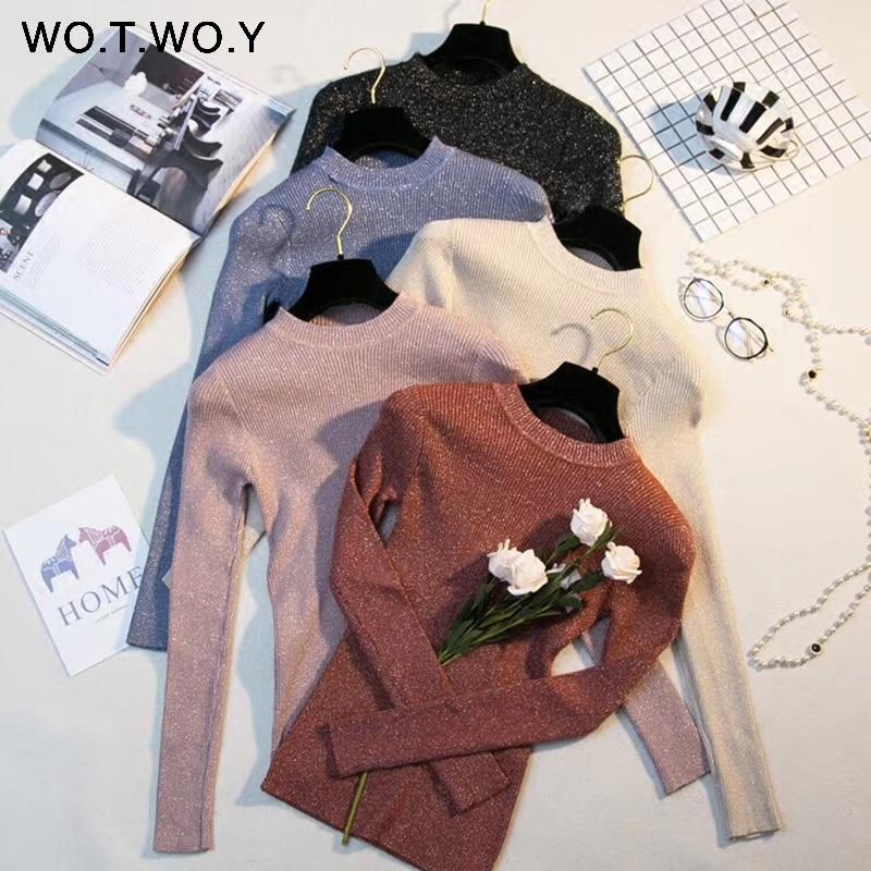 WOTWOY Shiny Lurex Autumn Winter Sweater Women Long Sleeve Pullover Women Basic Sweaters Women 2019 Korean Style Knit Tops Femme
