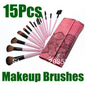 Free Shipping+Drop Shipping Makeup Brush 15pcs Tools Cosmetic Brush Set Eyebrow Comb with Roll up Snake Pattern Bag 3set/lot