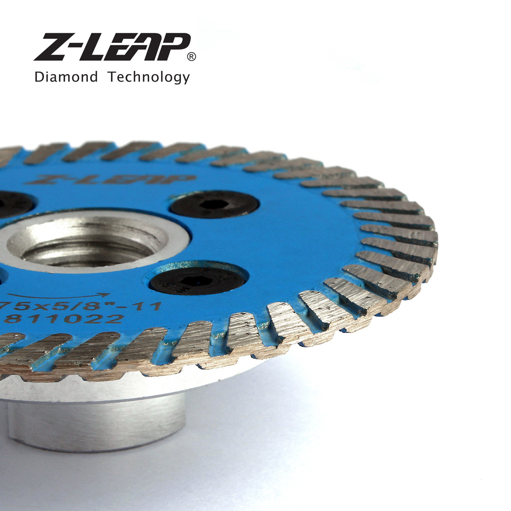 Image 3 - Z LEAP 75mm Diamond Mini Turbo Cutting Blade With Removable Flange M14 5/8 11 Diamond Carving Disc Saw Blade For Stone Granite-in Saw Blades from Tools